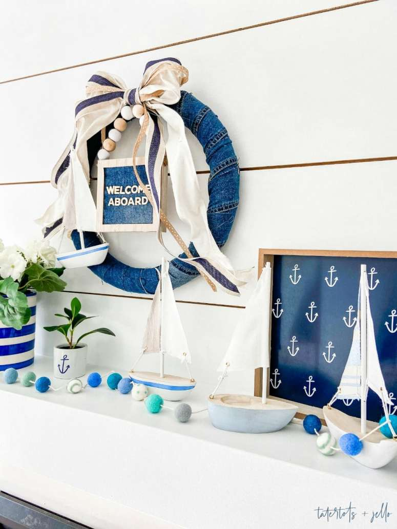 Nautical Summer Cottage Wreath. Turn a pair of jeans and a couple Dollar Spot items into a cute summer wreath with a nautical twist!