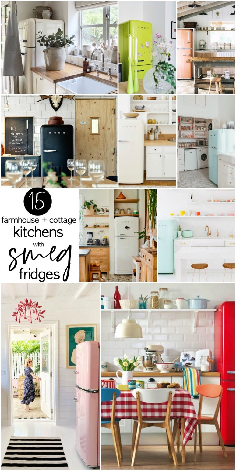 15 Farmhouse and Cottage Kitchens with Smeg Fridges.  How to incorporate a sleek and colorful SMEG to your farmhouse or cottage kitchen for a boost of style!