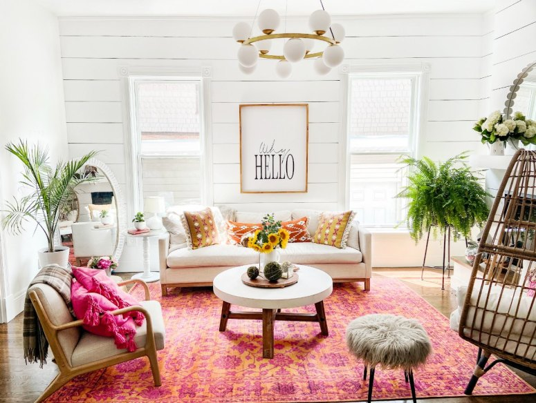 Bright and Colorful Summer Rug and Pillows