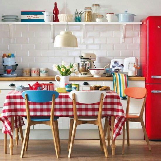 Red Smeg Plaid Kitchen