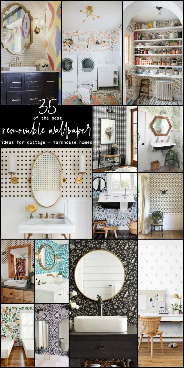 The BEST Cottage and Farmhouse Removable Wallpaper Ideas. Add COLOR and pattern to your cottage or farmhouse home with these easy to install and removable wallpaper ideas!