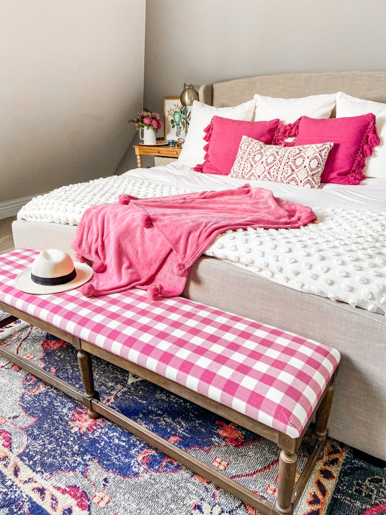Pink and white buffalo check bedroom for summer