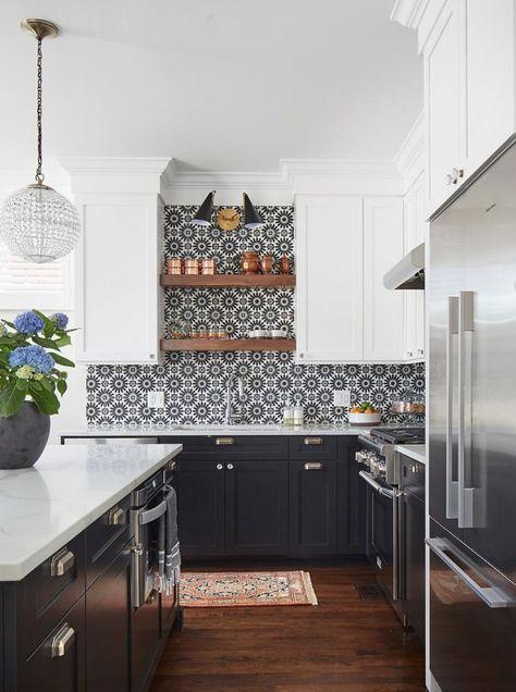 Black and White Boho Farmhouse Kitchen Backsplash