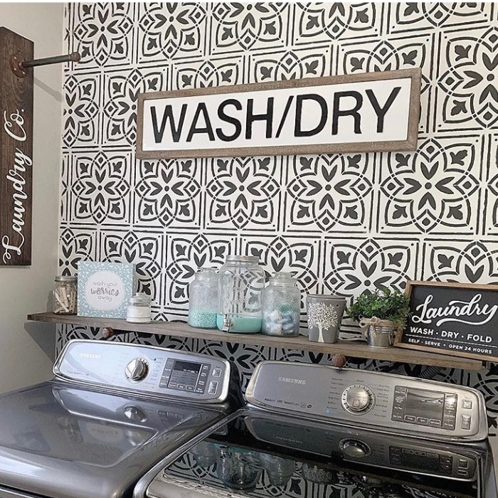 black and white tile laundry room at bold boundless blonde.