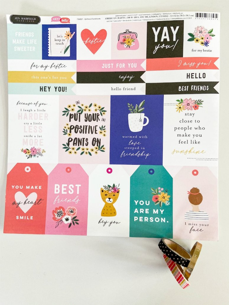 Friend sentiment paper has special sentiments that make card making easier.