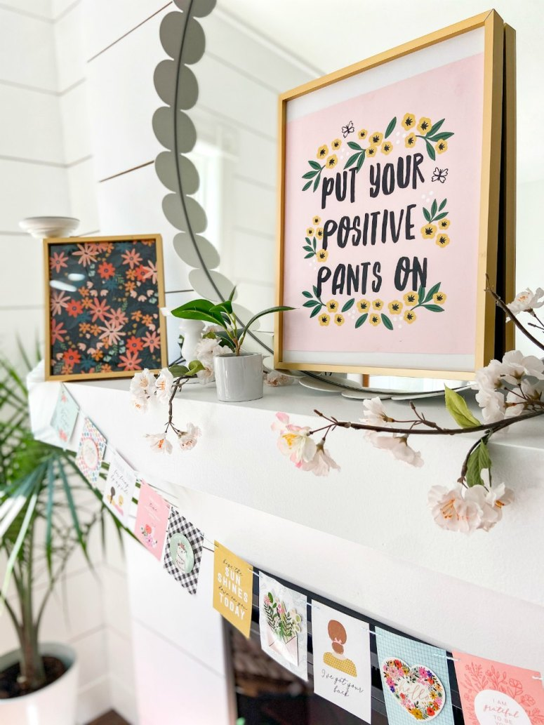 Bright Summer Mantel with Paper Banner. Create a bright and simple banner with a happy paper banner.