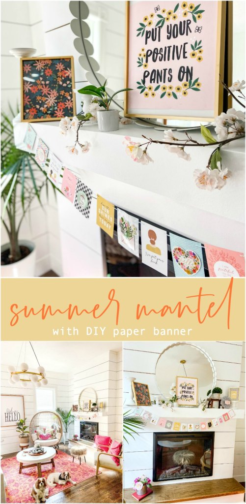 Summer Mantel with DIY Paper Banner