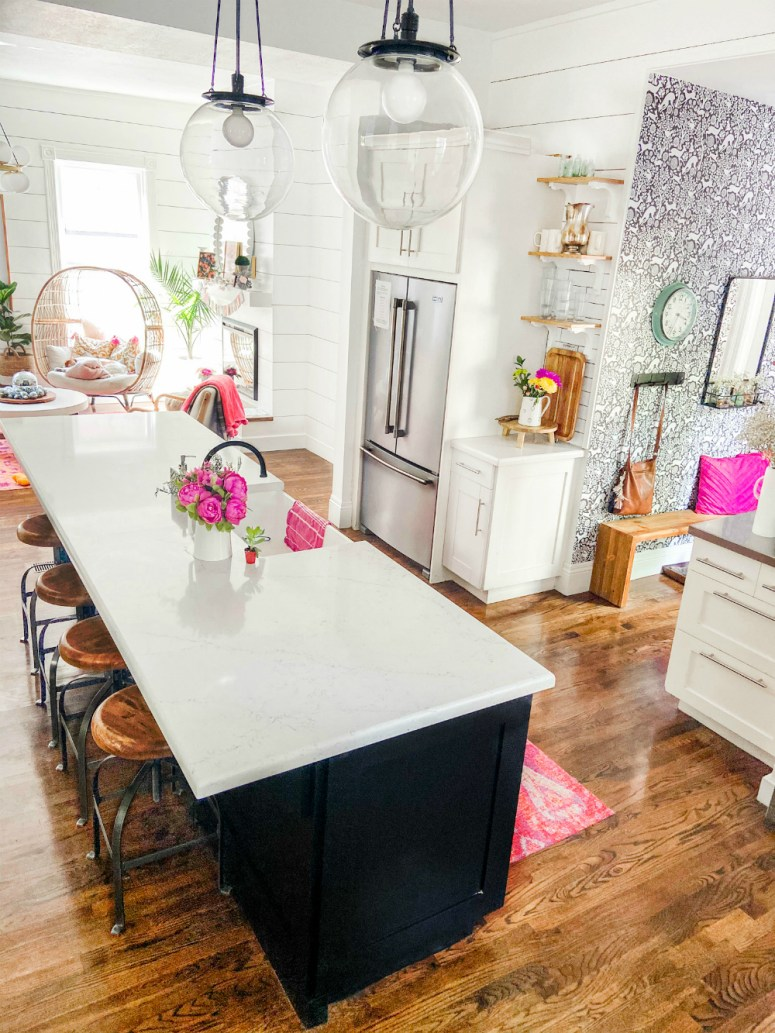 Kitchen makeover with counter-depth Maytag fridge.
