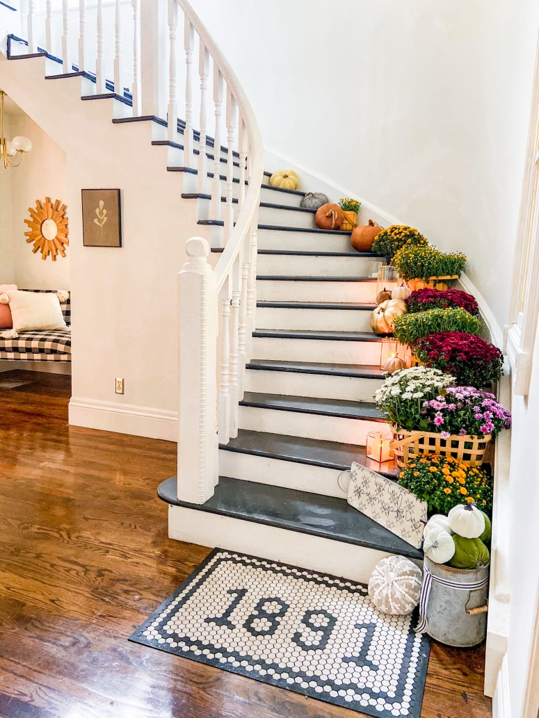 Fall Mums Staircase