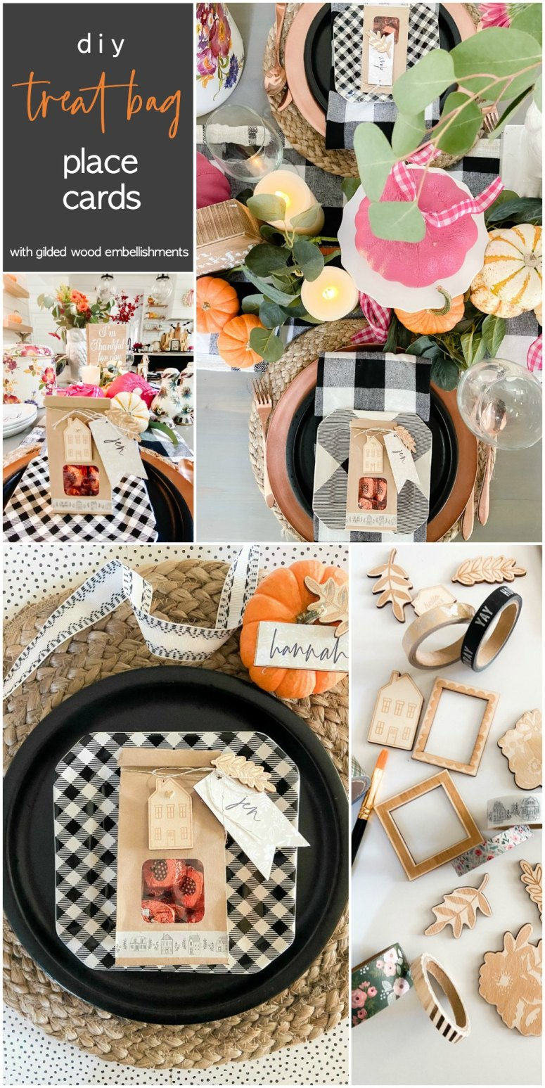 Thanksgiving Treat Bag Place Cards with Gilded Wood Embellishments. Create place cards treat bags for your fall dinners. Guests will know where to sit AND have some special treats to take home after dinner!