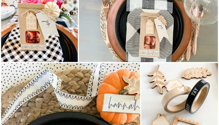 Thanksgiving Treat Bag Place Cards with gilded Wood Embellishments