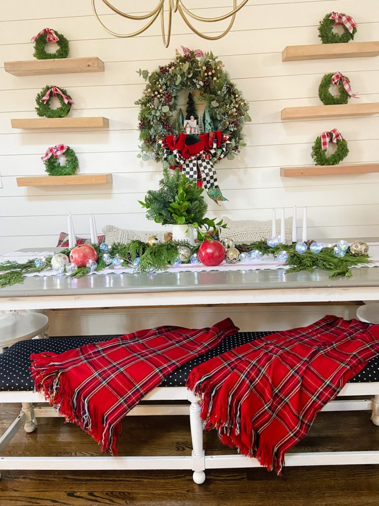 cottage plaid holiday dining room