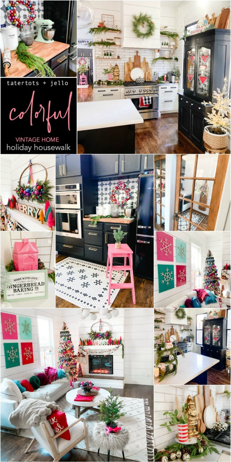 Bright and Colorful Holiday Housewalk Tour. Add bright and happy colors to your home with easy DIY projects to celebrate the holidays.