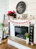 Colorful Spring Mantel with DIY Chalkboard Sign