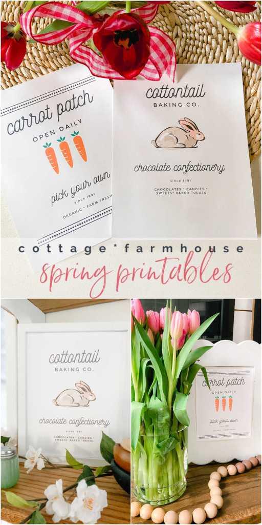 Cottage Farmhouse Bunny Carrot Spring Printables