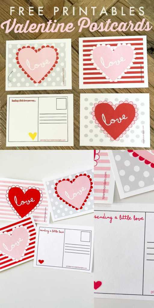 Free Heart Valentine's Day Postcards Printables