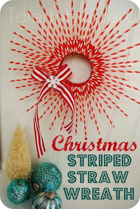 Christmas Striped Straw Wreath | Tatertots & Jello #christmas #wreath