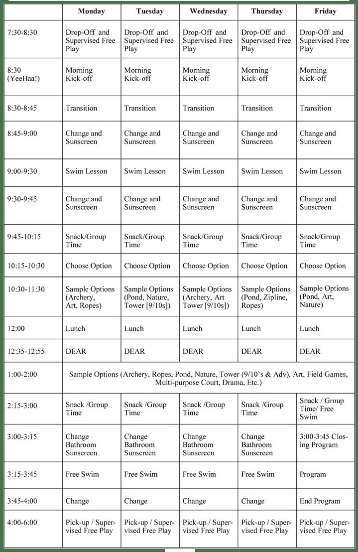 Explorer Adventure Camp Sample Schedule