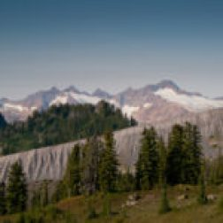 Its easy to see why they call it the railroad grade, the moraine pile cuts a stark line across the middle distance. The Twin Sisters range looms above, one of the only real clear views we would get, the remainder of the time it's shrouded in fog and smoke haze.