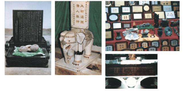"""满工金镶宝钻、玉雕、白象系由缅甸白玉制成,白象全身所嵌翡翠、蓝宝石、黄金宝、紫罗钻石、红宝石、南非钻、墨晶钻、玛瑙等共计二千五百九十四颗。宝石及钻石均采自天然,共计价值一千五百余万人民币。此为本会代表全球五大洲全体会员,藉""""义云高大师(H.H.第三世多杰羌佛)馆""""落成大典之日,为表华侨四海同心,对大师德忏恭敬敬仰之意,奉作贺礼"""
