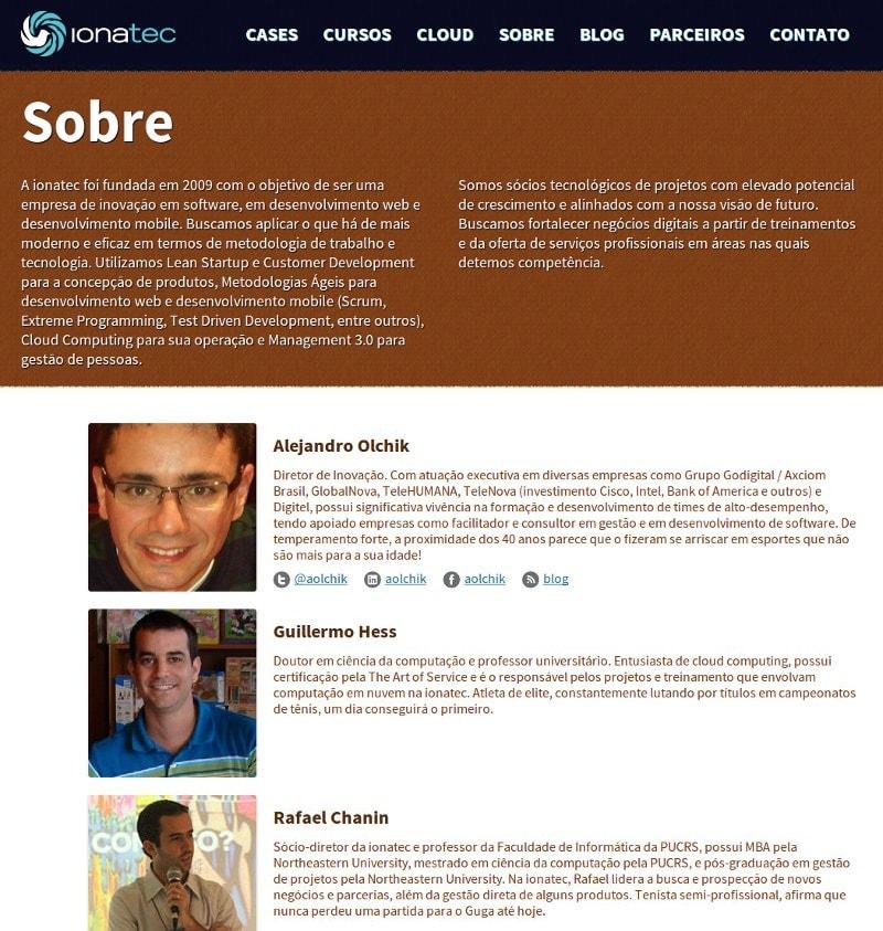 Página de colaboradores