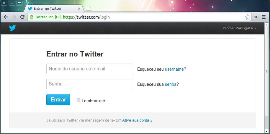 Página de login no Twitter com https.