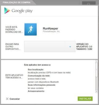 Permissões do aplicativo RunKeeper ao efetuar a instalação a partir do site do Google Play.