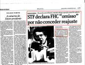 """STF declara FHC """"omisso"""" por não conceder reajuste (26/abril/2001)"""