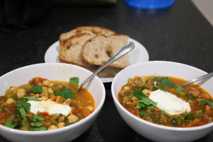 Spanish chickpea and chorizo soup