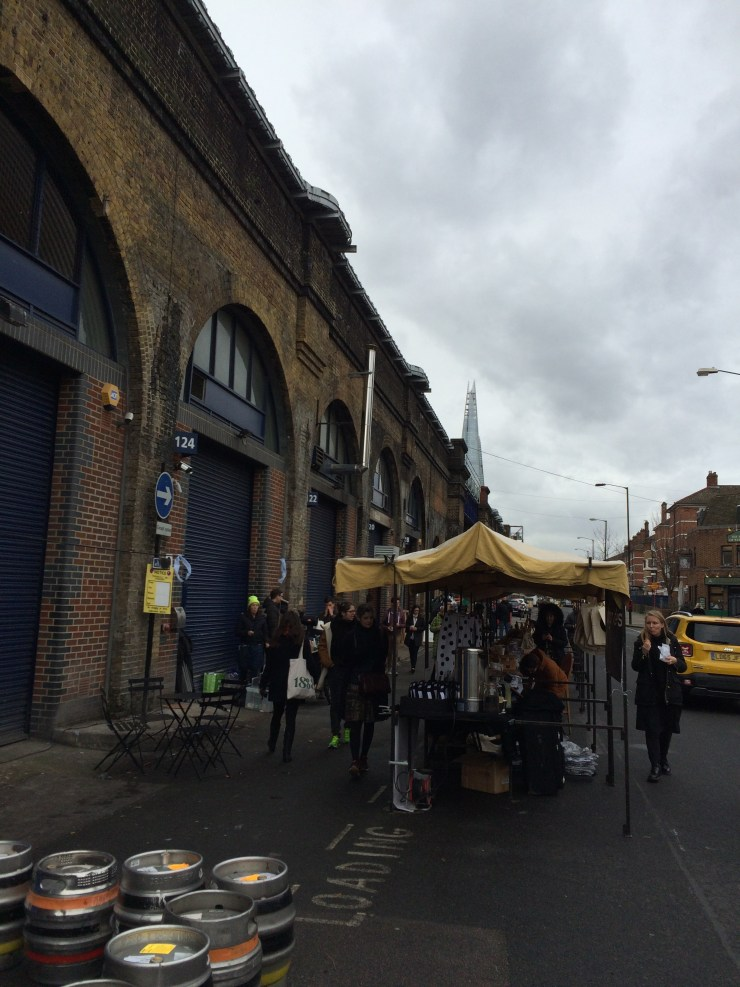 Druid Street market stalls with The Shard towering above them