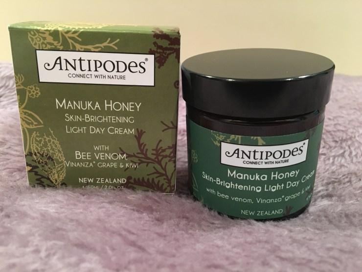 Antipodes Manuka Honey skin brightening light day cream with its box