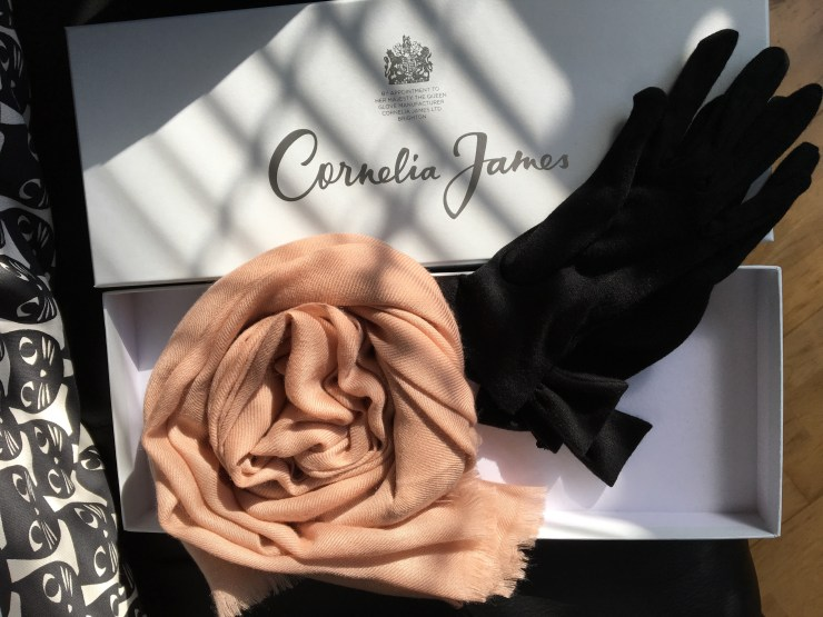 A coiled taupe scarf and a pair of black wool gloves in the rectangular box