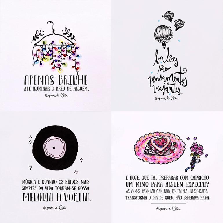 Prosa de cora, frases aquarela, frases ilustradas aquarela
