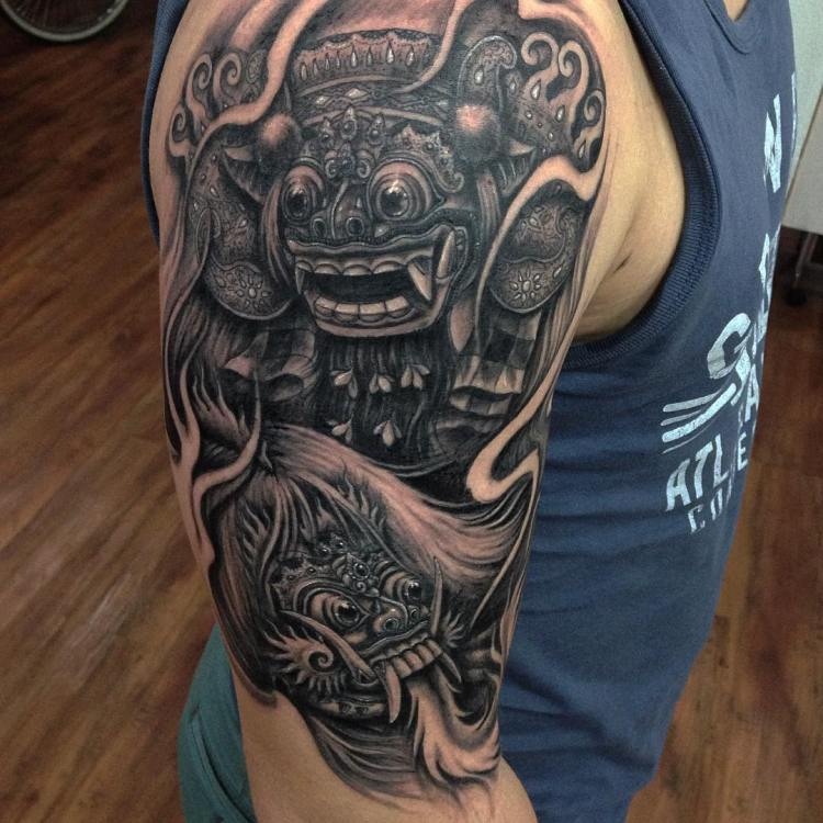 Barong and Rangda sleeve by Nikz Buch Familia Tattoo