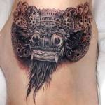 Barong mask tattoo by Endry Dharma