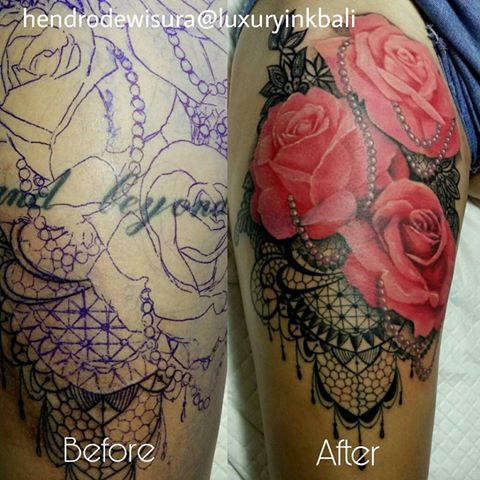 Bali cover up tattoo with roses by Hendro Dewisura Luxury Ink Bali