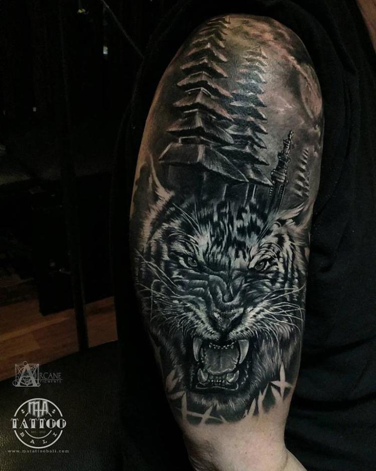 Oriental tiger half sleeve by Prima MA TATTOO
