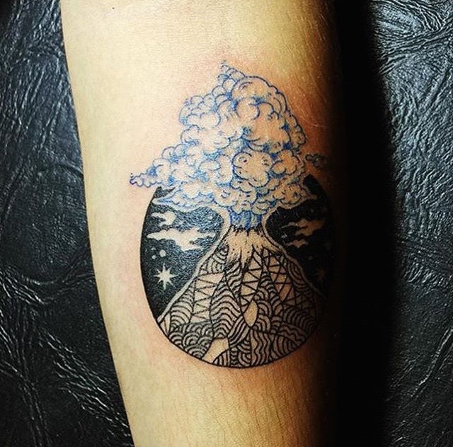 Bali volcano tattoo by Namaste Tattoo Ubud