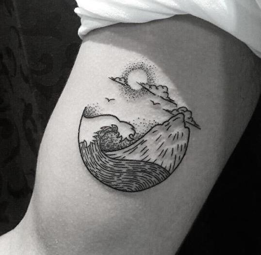 Bali volcano tattoo by Nice Art Tattoo
