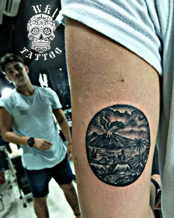 Mt Agung Volcano Tattoo by WK Tattoos Seminyak