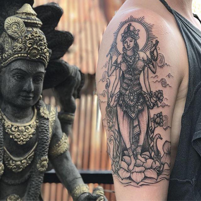 Balinese Buddha Statue Ubud Shoulder Tattoo by Agus