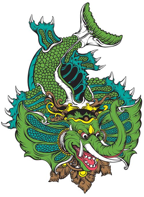 Gambar Gajah Mina - Illustration of green Balinese elephant sea monster on Fandom Indonesian Cryptids