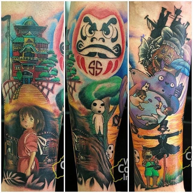 Spirited Away color tattoo sleeve feat Chichiro