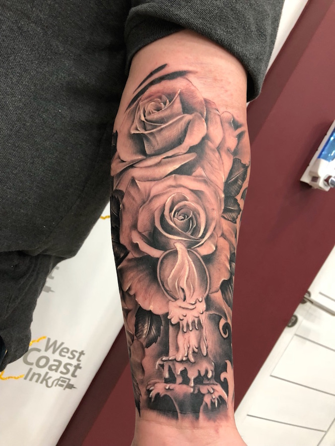 Realistic roses sleeve by Onal