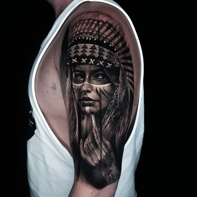 Native American portrait tattoo sleeve by Ata Ink Bali tattoo artist