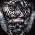 Tiger skull backpiece by Ata Ink