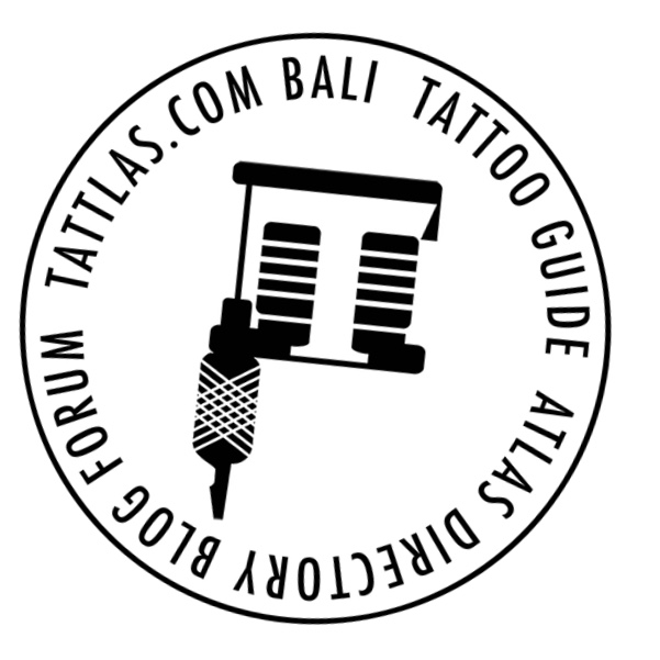 TATTLAS.COM Bali Tattoo Guide logo sticker white circle lowres