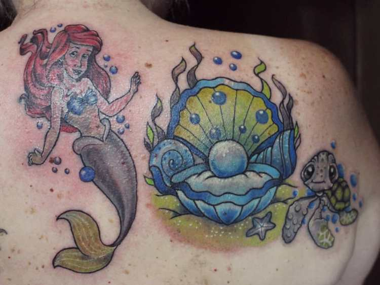 Ariel The Little Mermaid tattoo, pearl and Crush Finding Nemo turtle tattoo by TuAde for Sideline Tattoo Studio Ubud Bali
