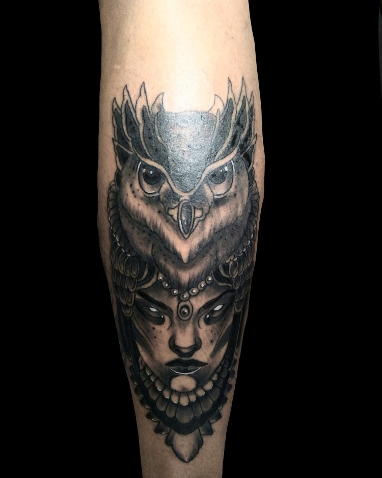 owl by wah ink tattoo bali