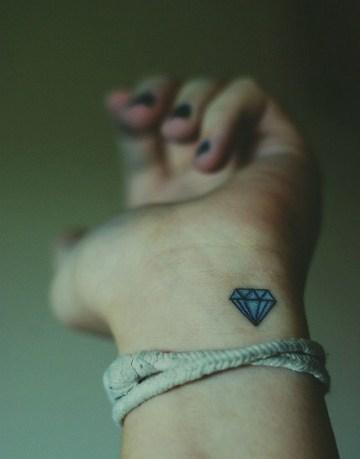 Minimal Blue Diamond Tattoo